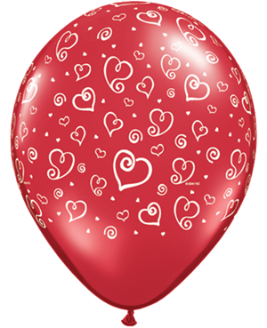 "Swirl Hearts 11"" 50 Ct"