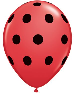 "Big Polka Dots - Red w/Black Ink 11"" (25 Unid)"