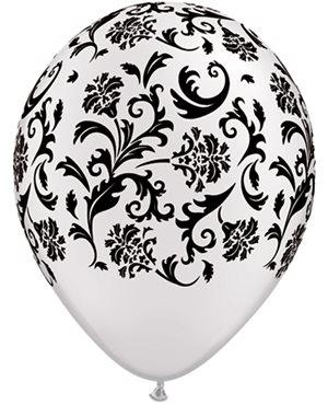 Damask Print - Pearl Onyx Black & Pearl White