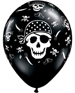 "Pirate Skull & Cross Bones- 11"" - Oniyx Black"