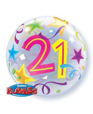 Bubbles 21 Birthday Stars