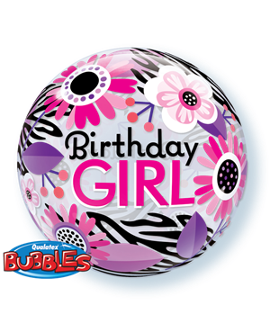 Bubbles Birthday Girl Zebra Stripes