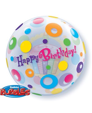 Bubbles Birthday Cupcake & Dots