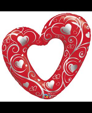 Hearts & Filigree Red