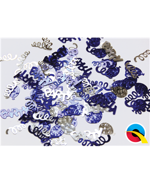 Confetti Party Swirls Blue & Silver