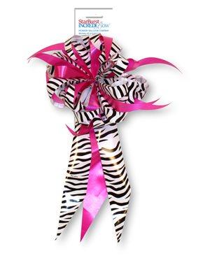 Starburst Bow - Zebra / Fuchsia
