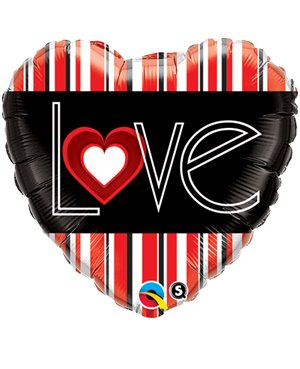 "L (Heart) VE Red Stripes 18"" (Minimo 3 Unid)"