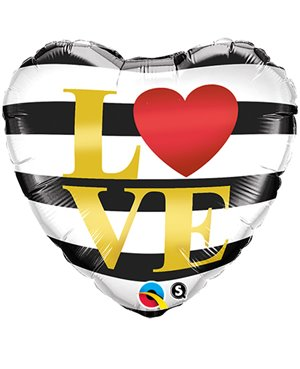 "L (Heart) VE Horizontal Stripes  18"" (Minimo 3 Unid)"