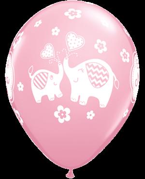 Globo de Látex en Español- Es un Niña Elephant (50 unid) Pink
