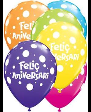 """Felic Aniversari 11"""" Surtido Tropical 25 Unid"""