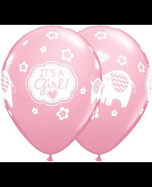 "It,s A Girl  Elephants 11"" Pink  (25ct)"