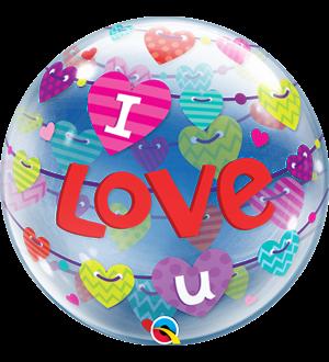 """I Love U Banners Hearts 22"""" (01ct) Minimo 3 Unid"""