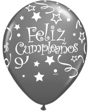 Globo de Látex en Español- Feliz Cumpleaños Tonos Plata y Negro