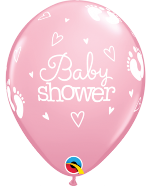 "Baby Shower Footprints & Hearts 11"" (Surtido Pastel ) 25ct"