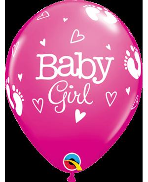 "Baby Girl FootPrints & Hearts 11"" Wild Berry (25ct)"