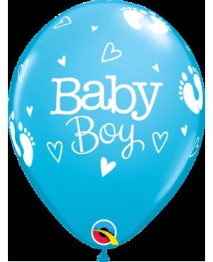 "Baby Boy Footprints & Hearts 11"" (Robin´s egg Blue) 25ct"