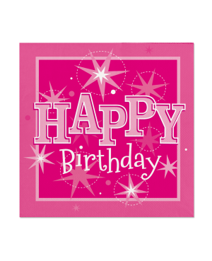 Happy Birthday Pink Sparkle Napkins 33*33 cm (20ct)