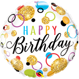 "18"" Birthday Glitter Dots (Minimo 3 Unid )"