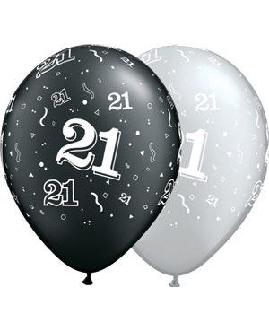 21-A-Round Pearl Onyx Black & Silver