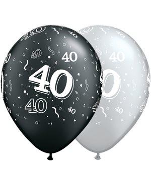 40-A-Round Pearl Onyx Black & Silver