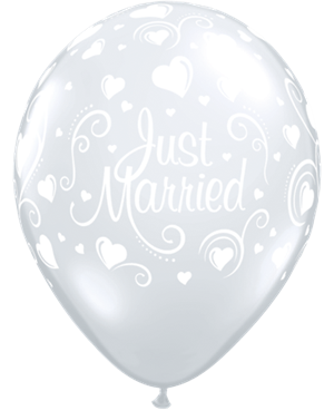Just Married Hearts Diamond Clear