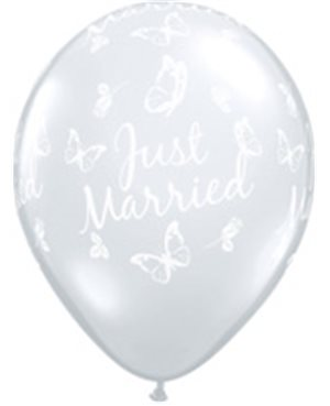 Just Married Butterflies-A-Round Diamond Clear