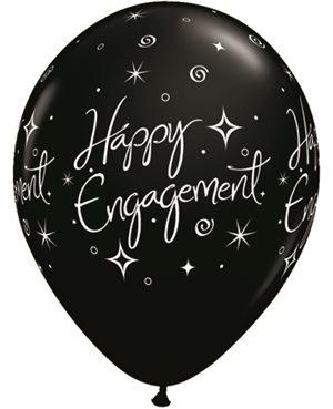 Engagement Elegant Sparkles Pearl Onyx Black & Silver