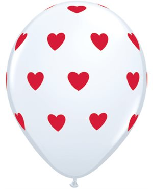 "Big Hearts - White w/Red Ink 11"" Bolsas de  unid (Minimo 6 Bolsas)"
