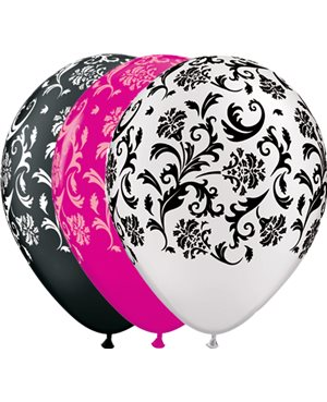 Damask Print - Wild Berry, Onyx Black & Pearl White