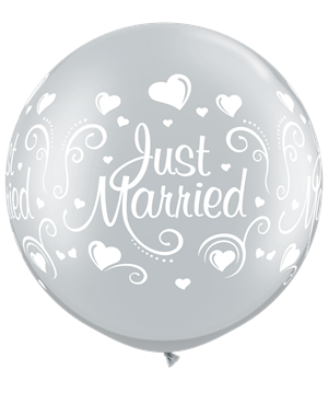 Just Married Hearts - Silver