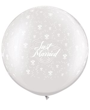 Just Married Flowers-A-Round - Pearl White
