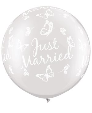 Just Married Butterglies-A-Round - Pearl White