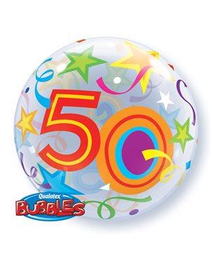 Bubbles 50 Birthday Stars