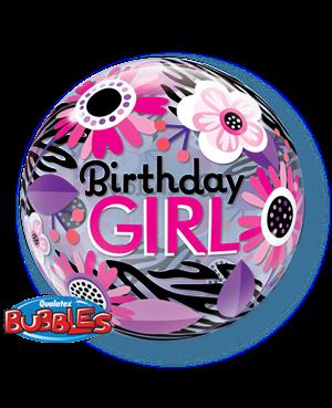 Bubbles Birthday Girl Zebra Stripes