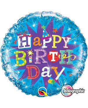 Birthday Typography Blue