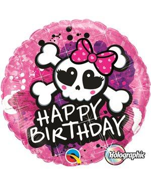 Birthday Skull Bow & Crossbones