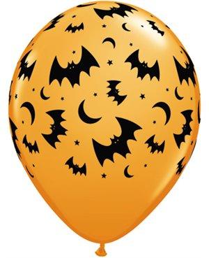 "Flying Bats & Moons 11"" Orange -6ct - Minimo 6 Bolsas"