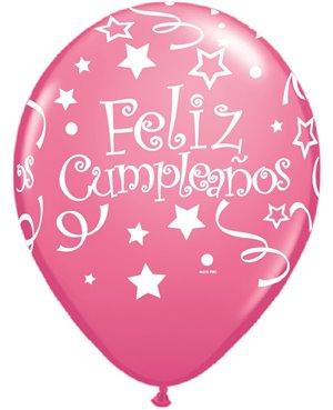 Globos de Látex en Español- Feliz Cumpleaños tonos Rosas