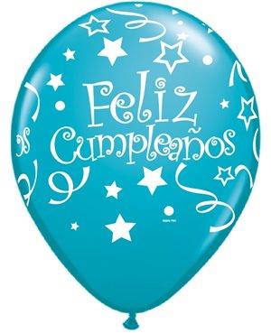 Globos de Látex en Español- Feliz Cumpleaños Tonos Celestes