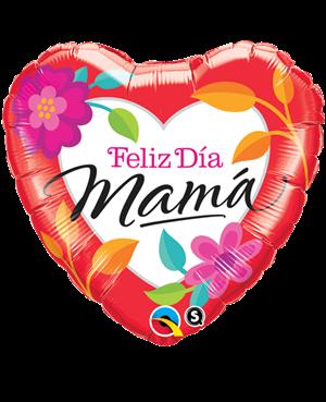 """Feliz Día Mama - Rojo Intenso Floral 18"""" Minimo 3 unid"""