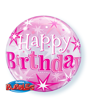 "Birthday Pink Starbust Sparkle 22"" (Minimo 3 Unid)"