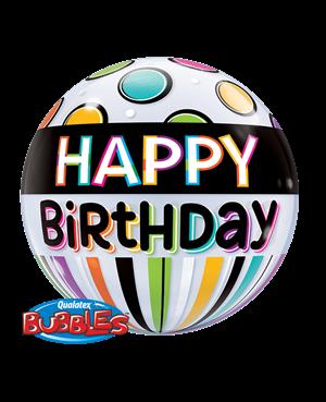 "Birthday Black Band & Dots 22"" (Minimo 3 unid)"