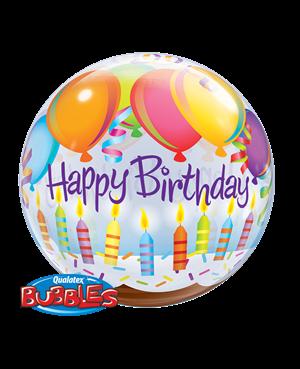 "Birthday Balloons & Candles 22"" (Minimo 3 Unid)"