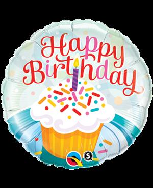 "Brithday Cupcake & Sprinkles 18"" (Minimo 3 Unid)"