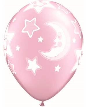 "Baby Moon & Stars 11"" Pink (6ct)"