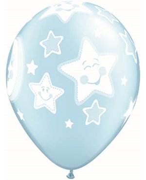 "Baby Moon & Stars 11"" Pale Blue (6ct)"