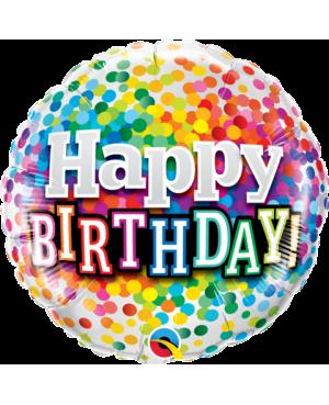 "Birthday Rainbow Confetti 18"" (Minimo 3 Unid)"