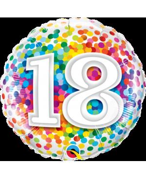 """18 Rainbow Confetti 18"""" (Minimo 3 Unid)"""