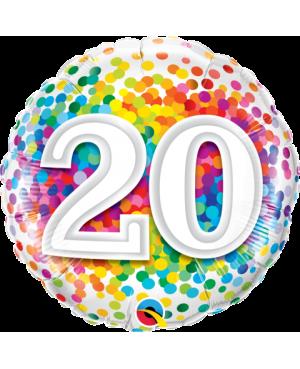 """20 Rainbow Confetti 18"""" (Minimo 3 Unid)"""
