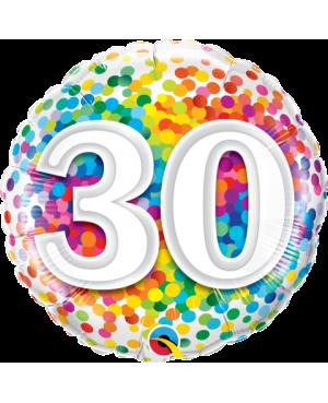 """30 Rainbow Confetti 18"""" (Minimo 3 Unid)"""